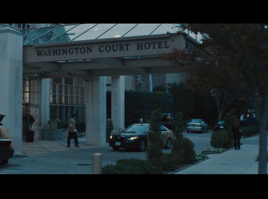 Screenshot from  Philomena  of Martin's car puling up in front of the Washington Court Hotel in Washington, D.C.