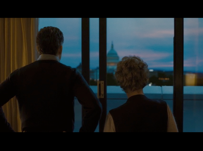 "Screenshot of Martin and Philomena standing in her ""D.C. hotel room,"" but the scene was actually filmed in a Marriott in north London."