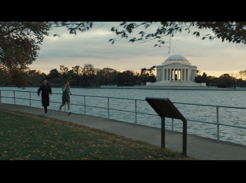 Screenshot from  Philomena  of Martin jogging by The Tidal Basin in Washington, D.C.