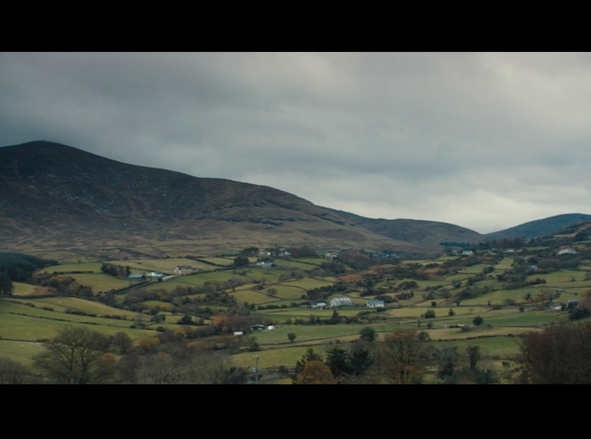 Screenshot from Philomena featuring Northern Ireland's breathtaking Mournes mountains in the background.