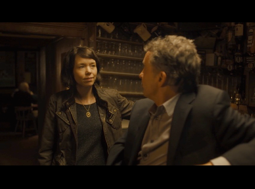 Screenshot filmed at The Dufferin Arms in Killyleagh, Co Down of Northern Ireland: Steve Coogan and Anna Maxwell Martin who portrays Philomena's daughter.