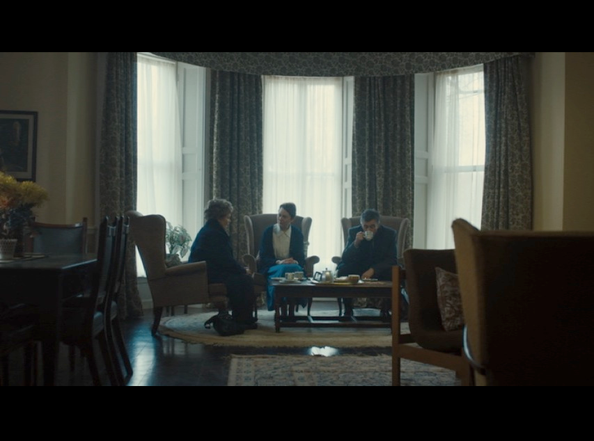 Screenshot of a scene filmed inside Harefield House, which stands in for Roscrea Abbey.