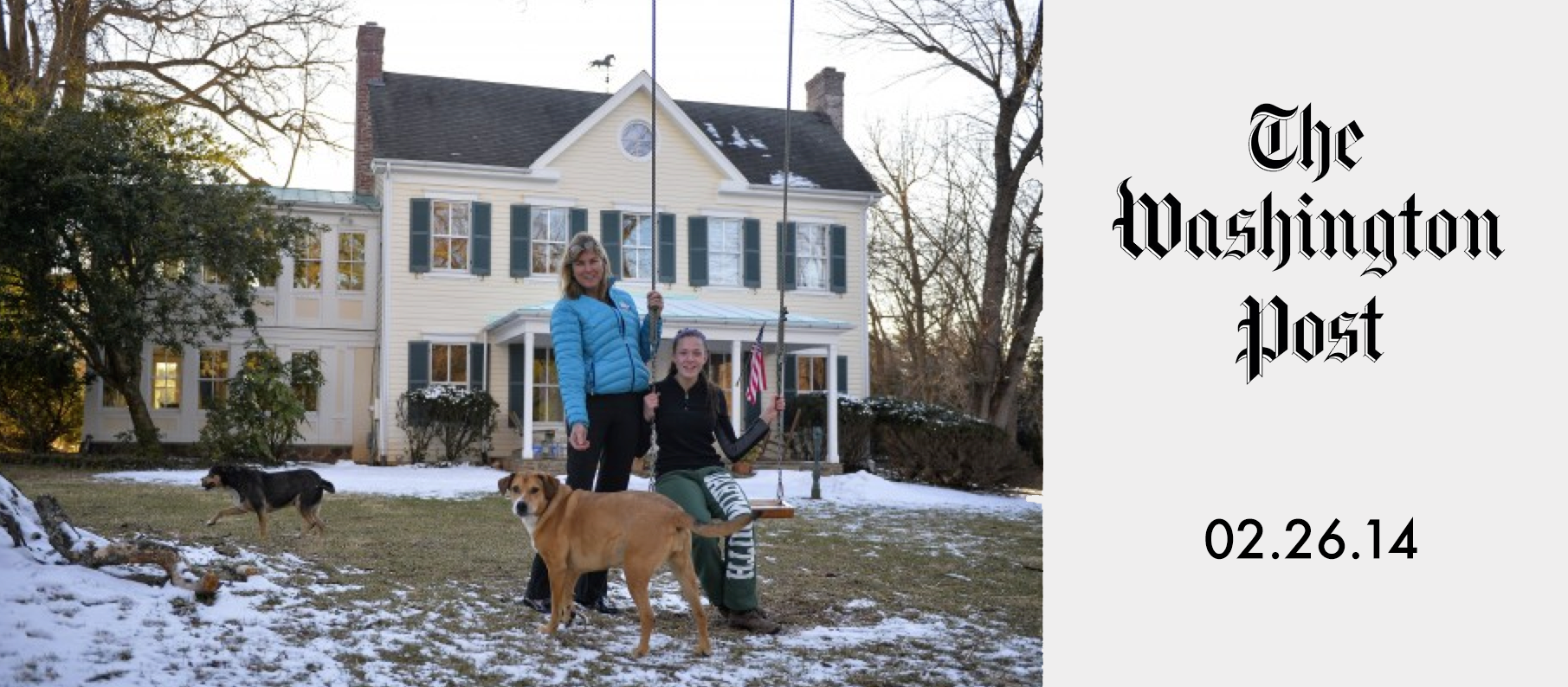 Diana Conway and her daughter Alexandra, 15, in front of their Potomac, Md., home, which was used as one of the film locations in  Philomena.  (Image via   Washington Post  .)