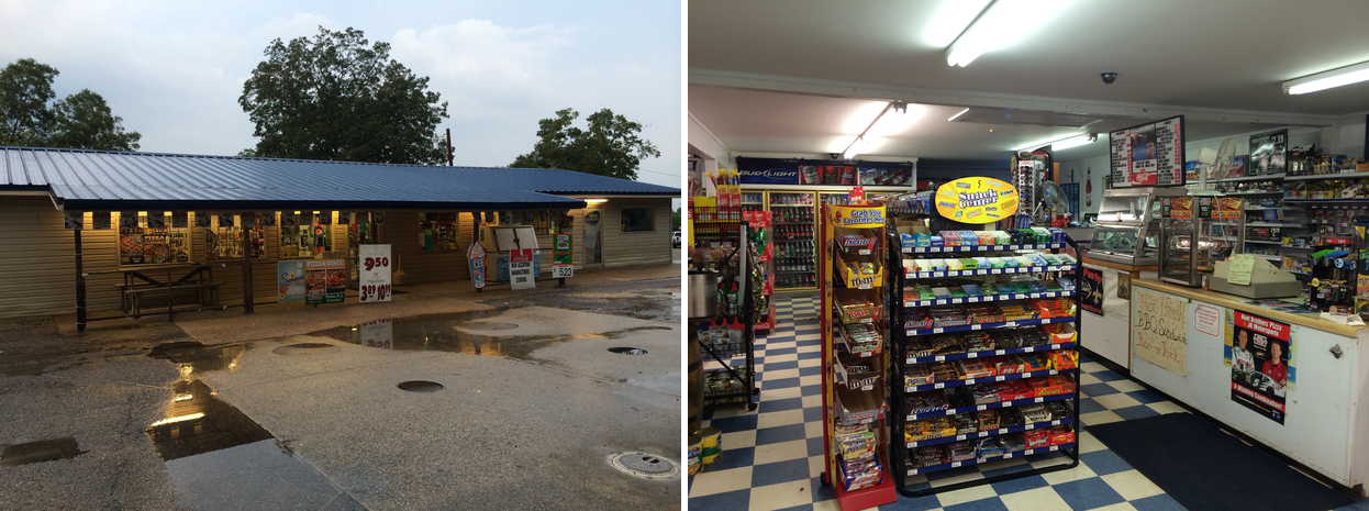 The Country Kwik Stop convenient store near Lyman, Mississippi, is one of the filming locations for Impact Earth - images via  Google .
