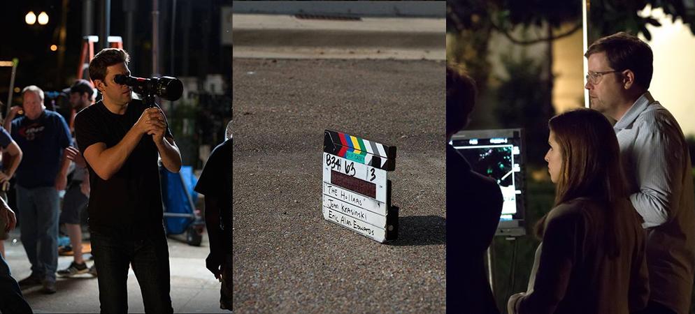 Director John Krasinski, Anna Kendrick and producer Tom Rice on the set of  The Hollars , filmed in Jackson, Mississippi.
