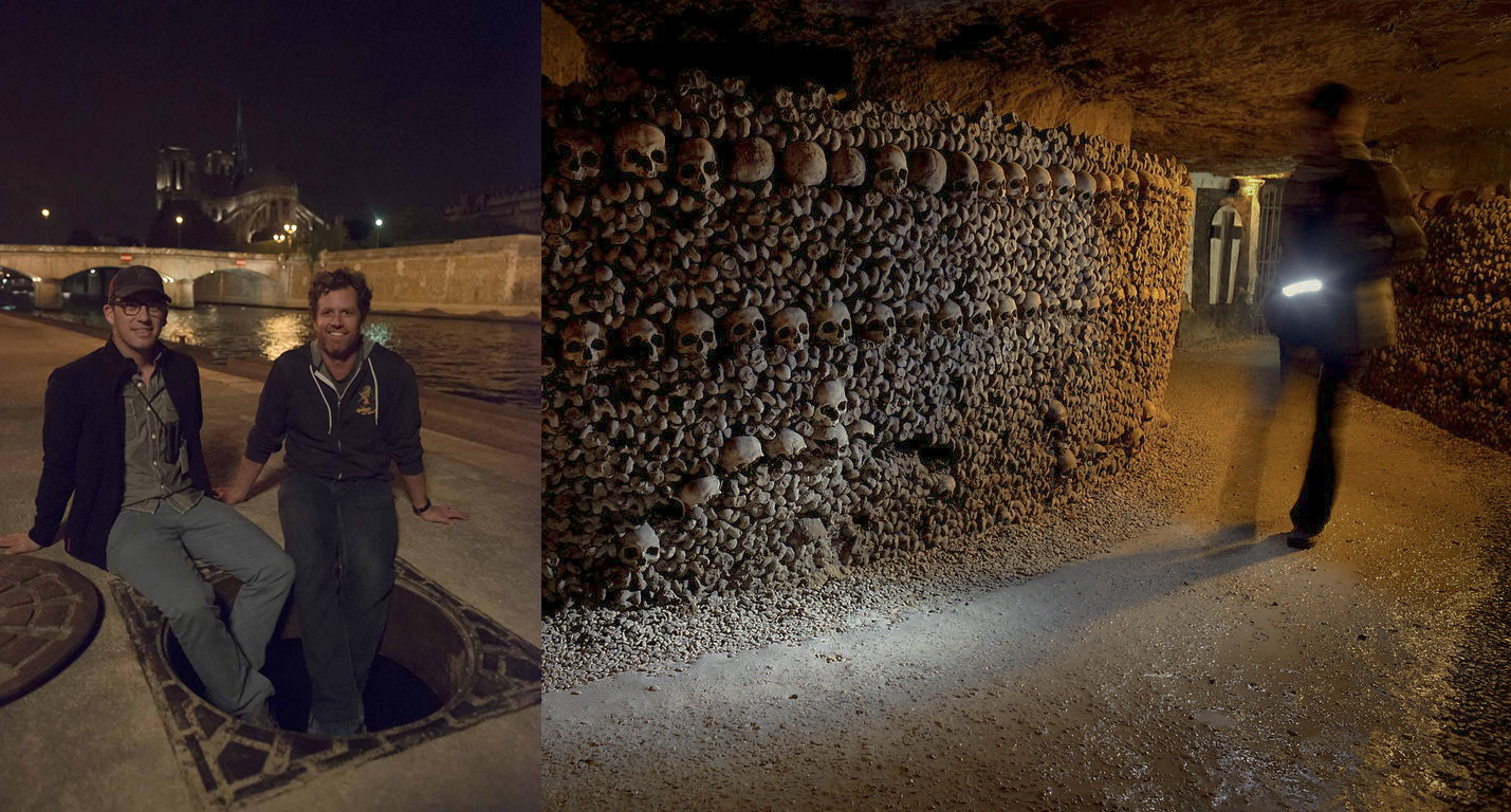 Left: Director John Erick Dowdle and his brother and co-writer Drew Dowdle sitting at one of the entrances to the Catacombs in Paris, France - image via  Google . Right: inside the Catacombs - image by photographer  Stephen Alvarez .
