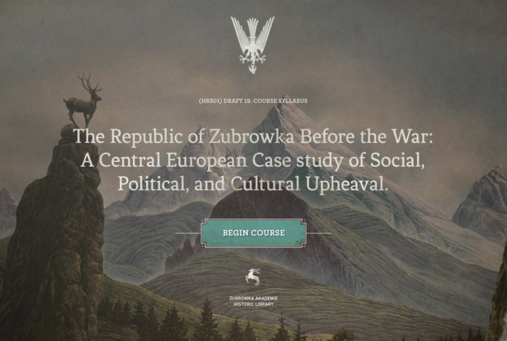 Screenshot of the website for the Republic of Zubrowka: http://www.akademiezubrowka.com/