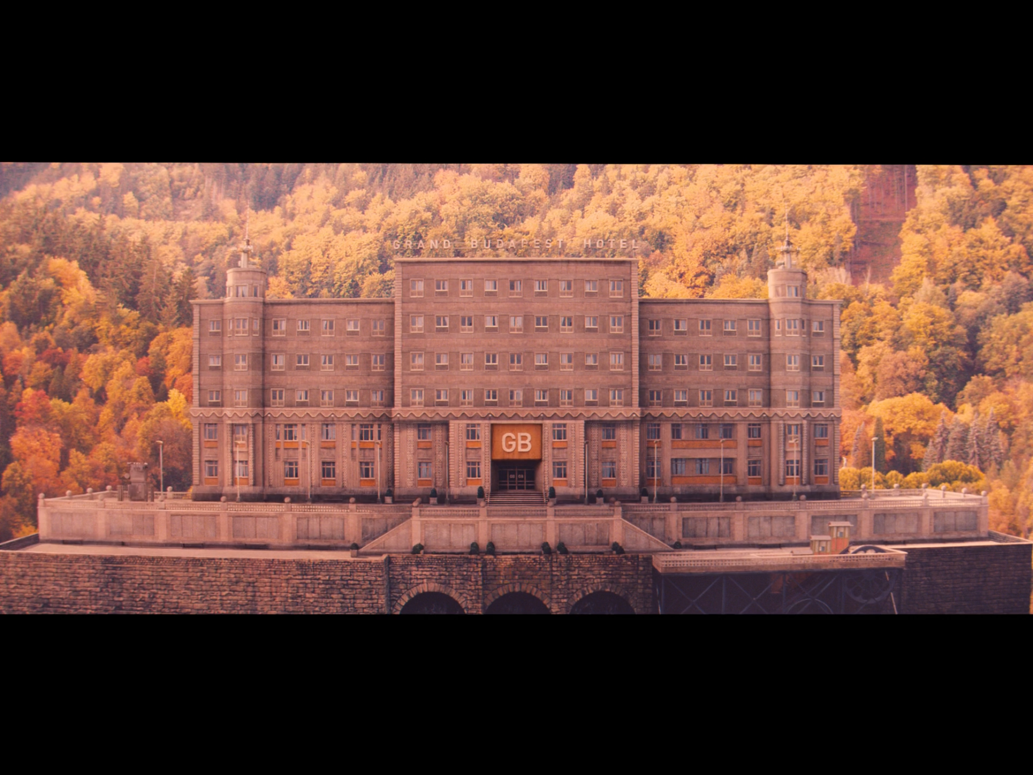 Screenshot from the movie of the miniature model of The Grand Budapest Hotel in the 1960's.