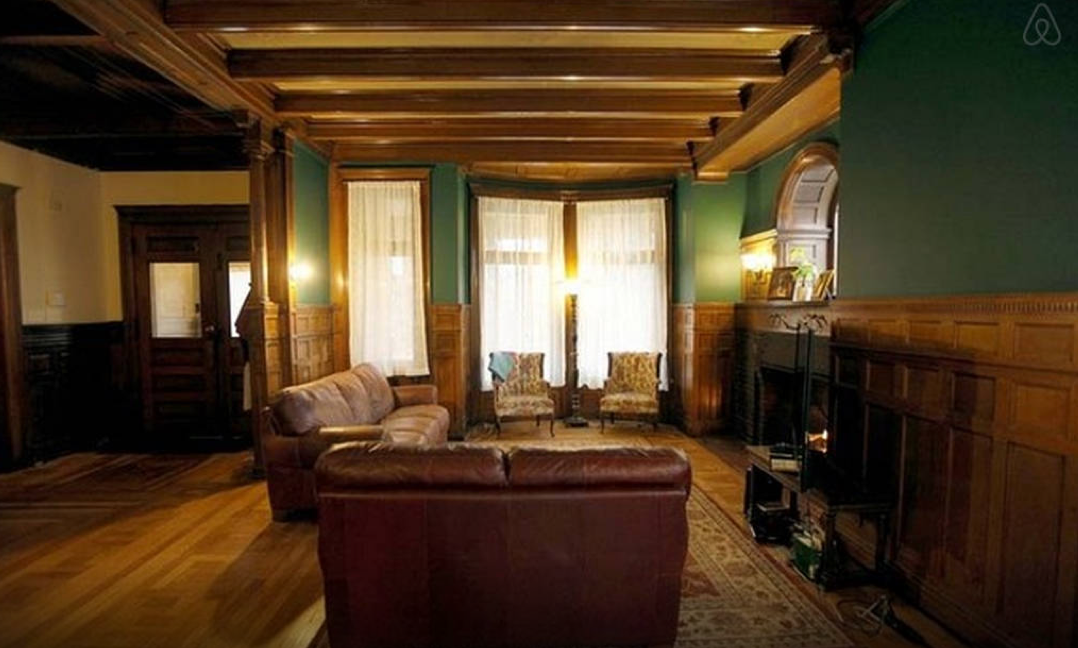 The foyer and living room area of 82 Alfred Street, where  Only Lovers Left Alive  was filmed. Image via  Airbnb.com .