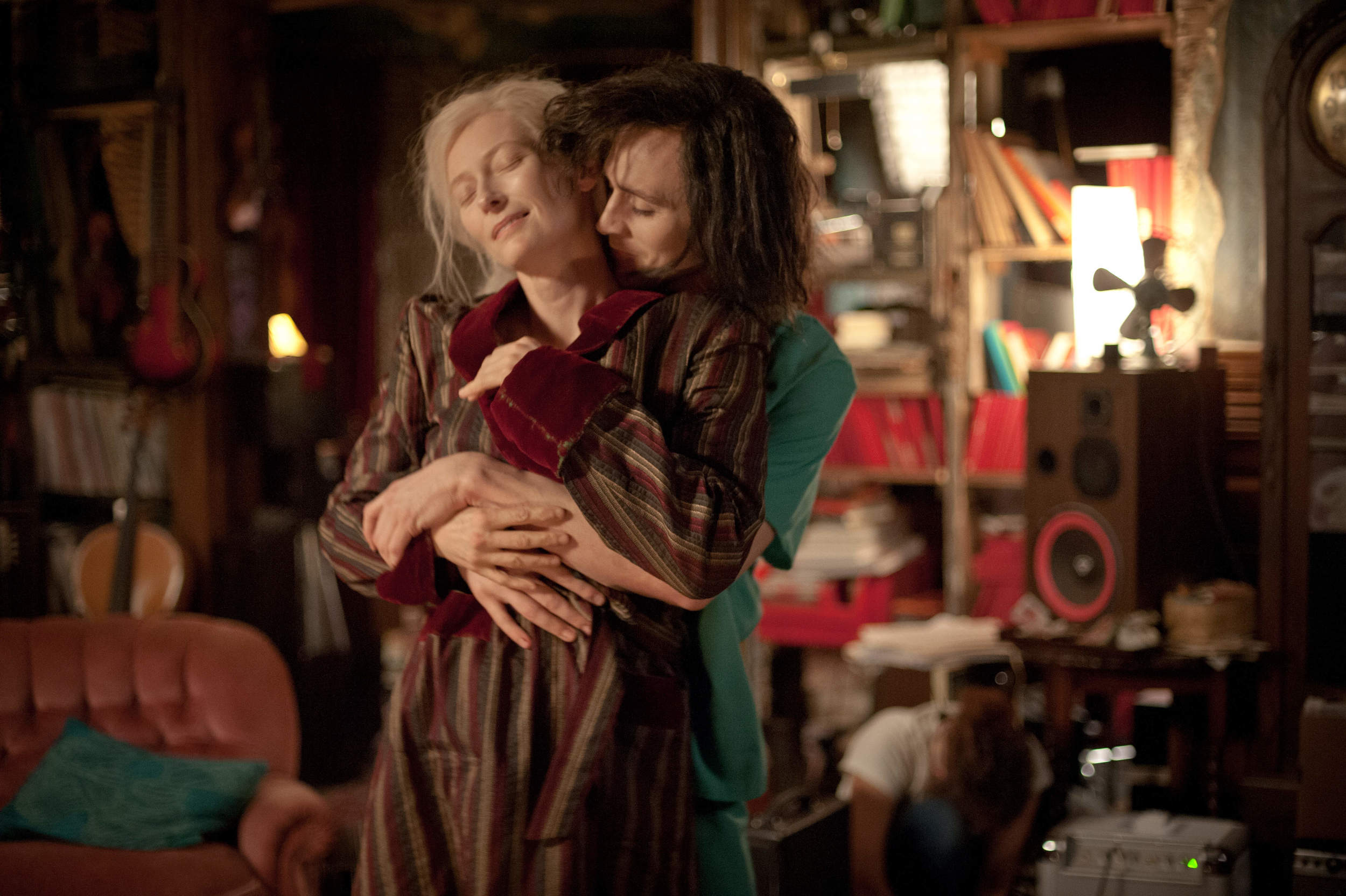 A production still from  Only Lovers Left Alive  featuring Tilda Swinton (as Eve) and Tom Hiddleston (as Adam).