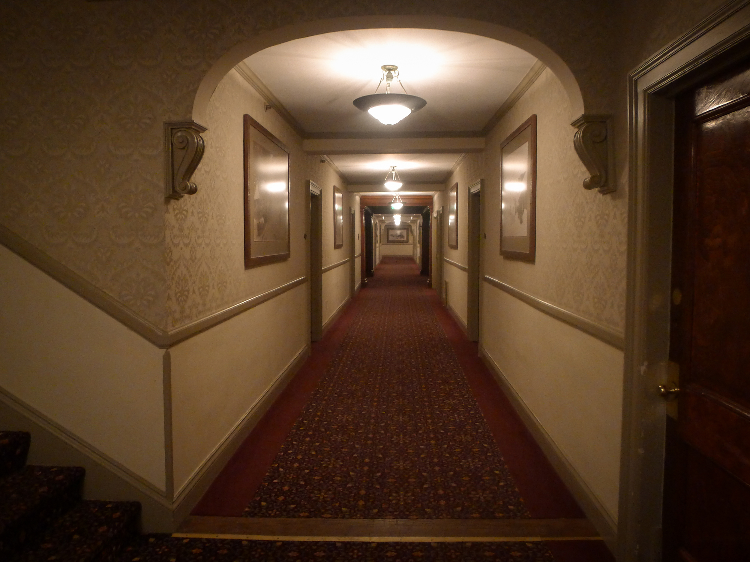 One of the cavernous hallways at the Stanley Hotel - the inspiration for Stephen King's  The Shining . Image via  Google .