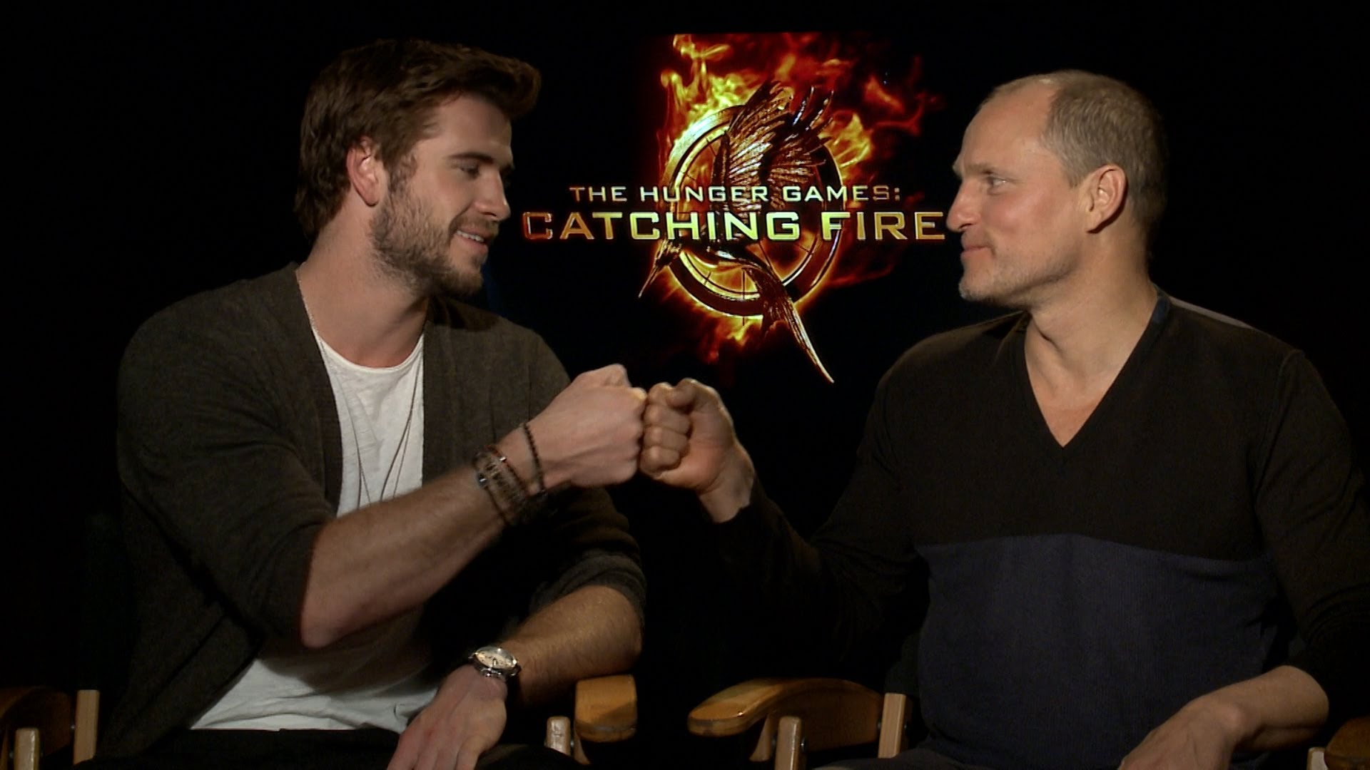 Liam Hemsworth and Woody Harrelson promoting The Hunger Games: Catching Fire . They also star together in  By Way of Helena , filmed in Greenwood, Mississippi. Image via  Google .
