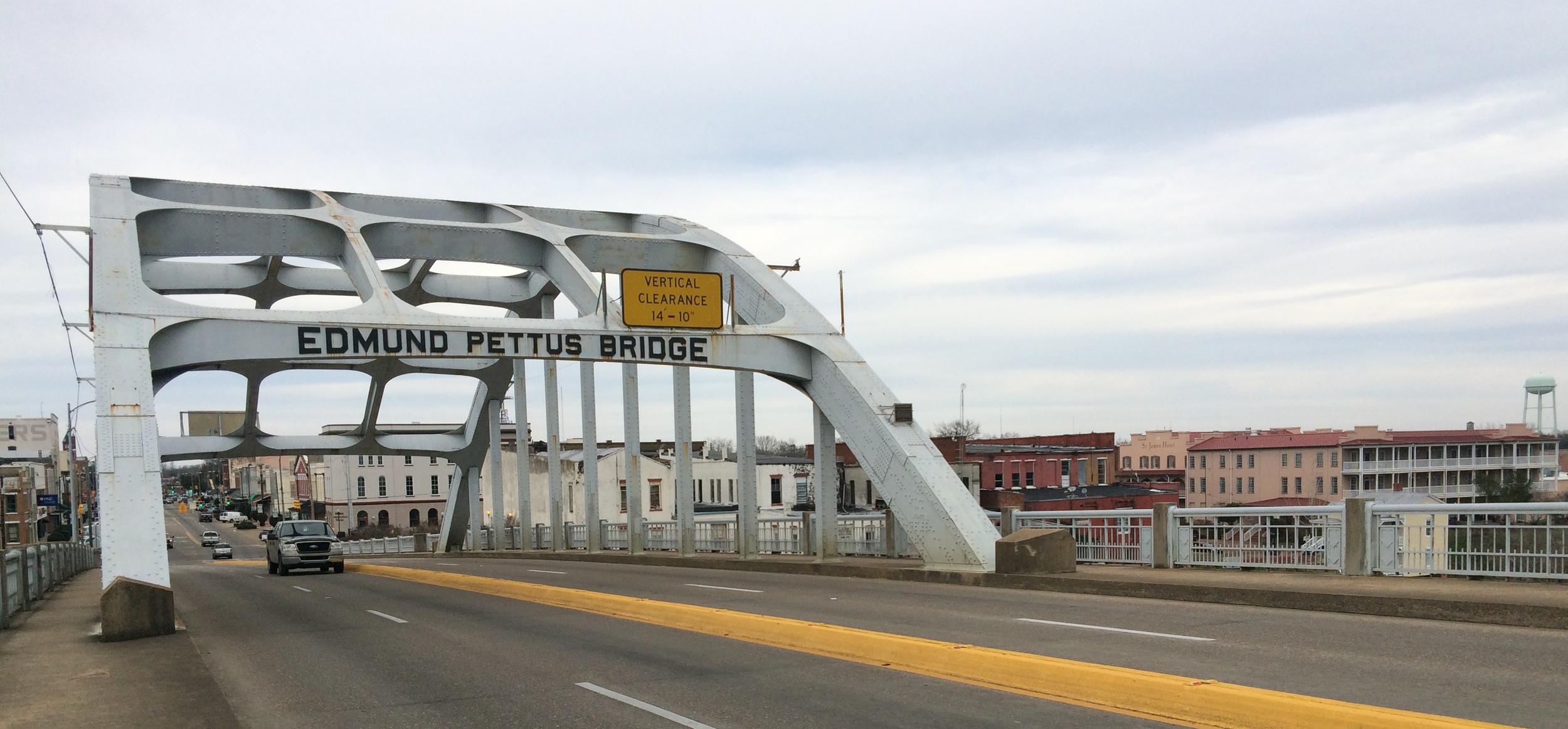 The historic Edmund Pettus Bridge, an important setting and film location for  Selma  - image via  Google .