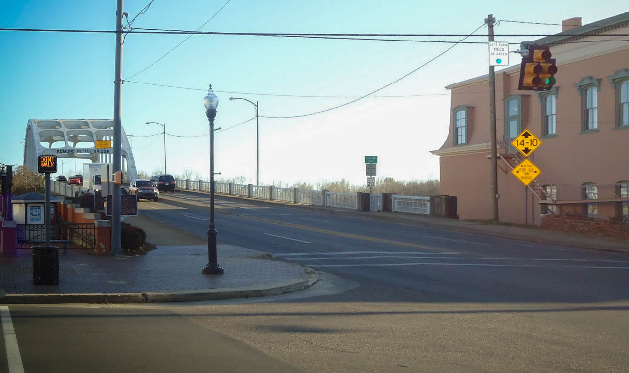 The historic Emund Pettus Bridge, an important setting and film location for Selma - image via  Google .