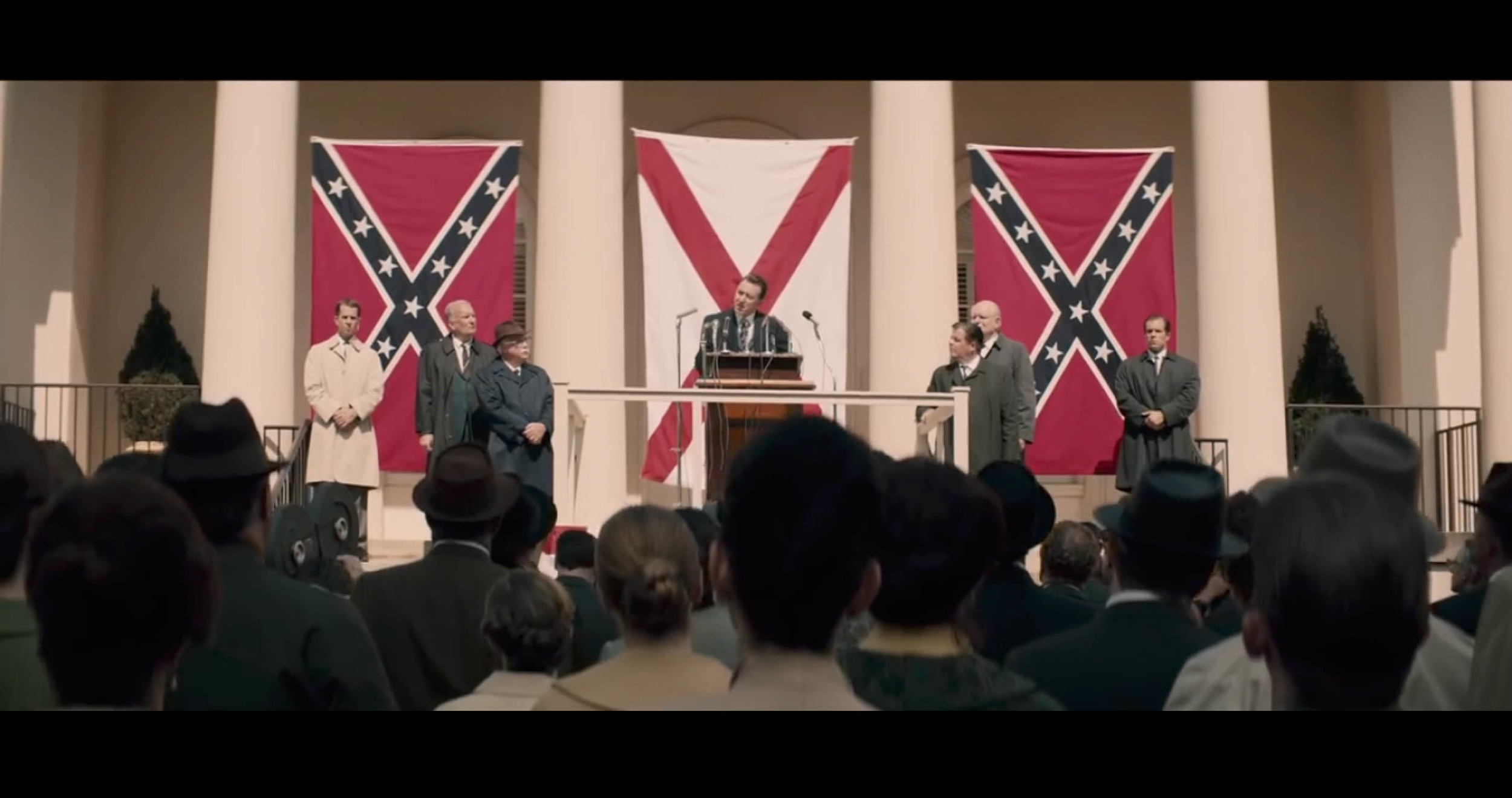 Screenshot from  Selma  of  a scene filmed on the campus of Georgia Tech , with the Academy of Medicine building standing in for the Court House.