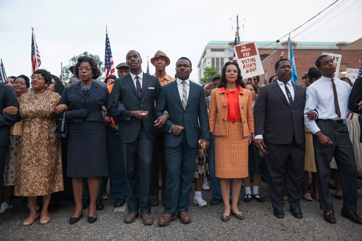 Production still of  Selma  featuring a scene fromDr. King's epicmarch from Selma to Montgomery.