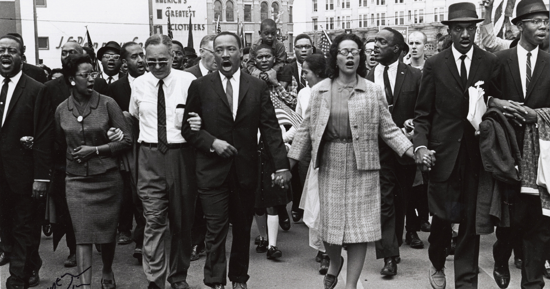 A photo of the historic Selma to Montgomery march in 1965 with Dr. Martin Luther King, Jr. and Mrs. King in the center - takenby photographerSpider Martin now displayed at The Levine Museum . For more photos from this historic event, visit the photography exhibit currently on display at  The Levine Museum of the South .