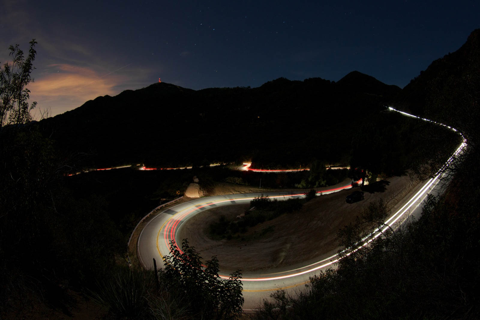 An aerial view of Mulholland Drive at night - image via  Google .