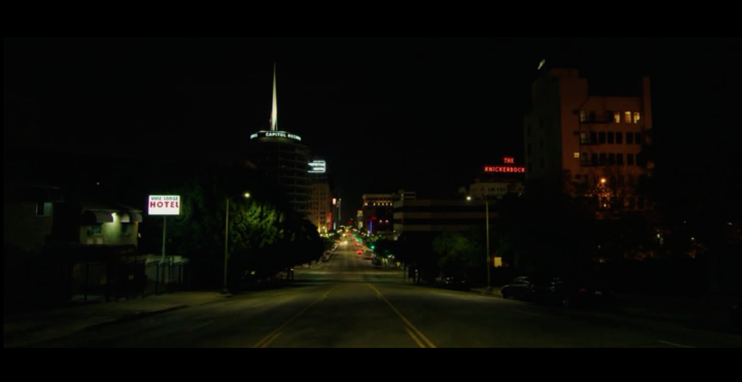 Screenshot from Nightcrawler of an establishing shot of a Los Angeles street at night.