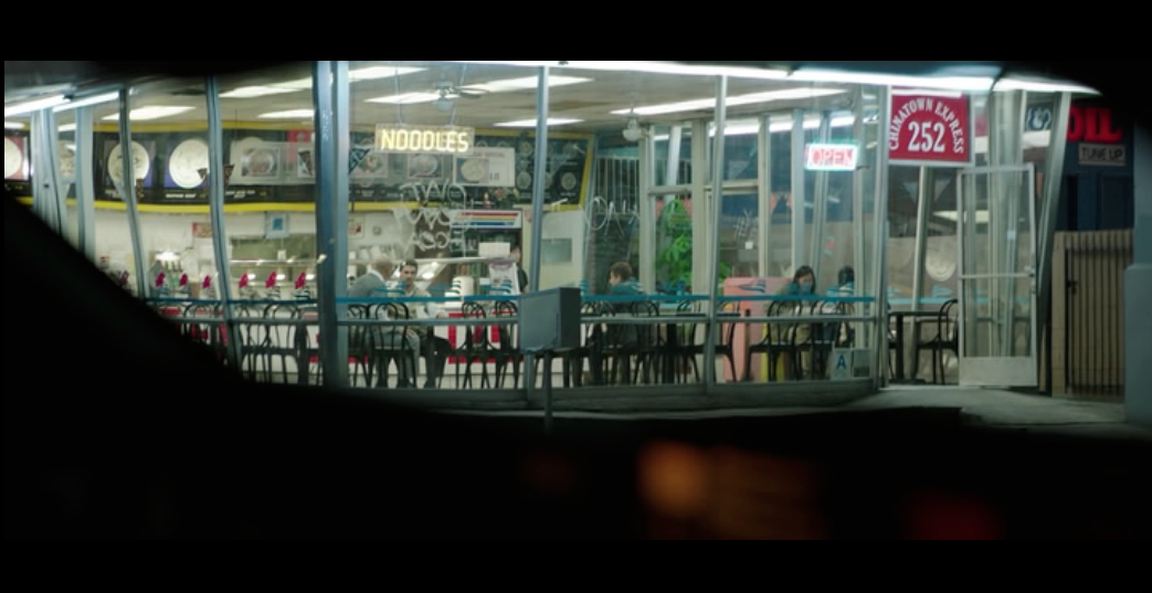 Screenshot from  Nightcrawler  of the crucial scene at Chinatown Express - in real life the restaurant is Pioneer Chicken Restaurant on South Western Avenue, Los Angeles.