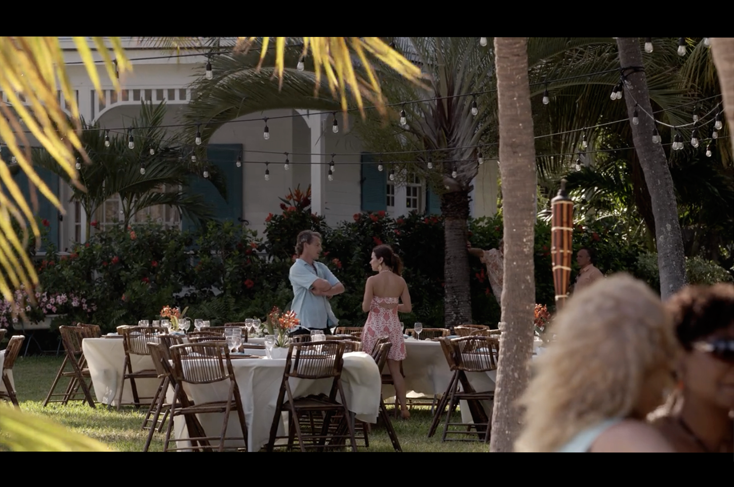 Screenshot from Bloodline of a scene filmed on the lawn in front of The Rayburn House (in real life The Moorings Village & Spa).