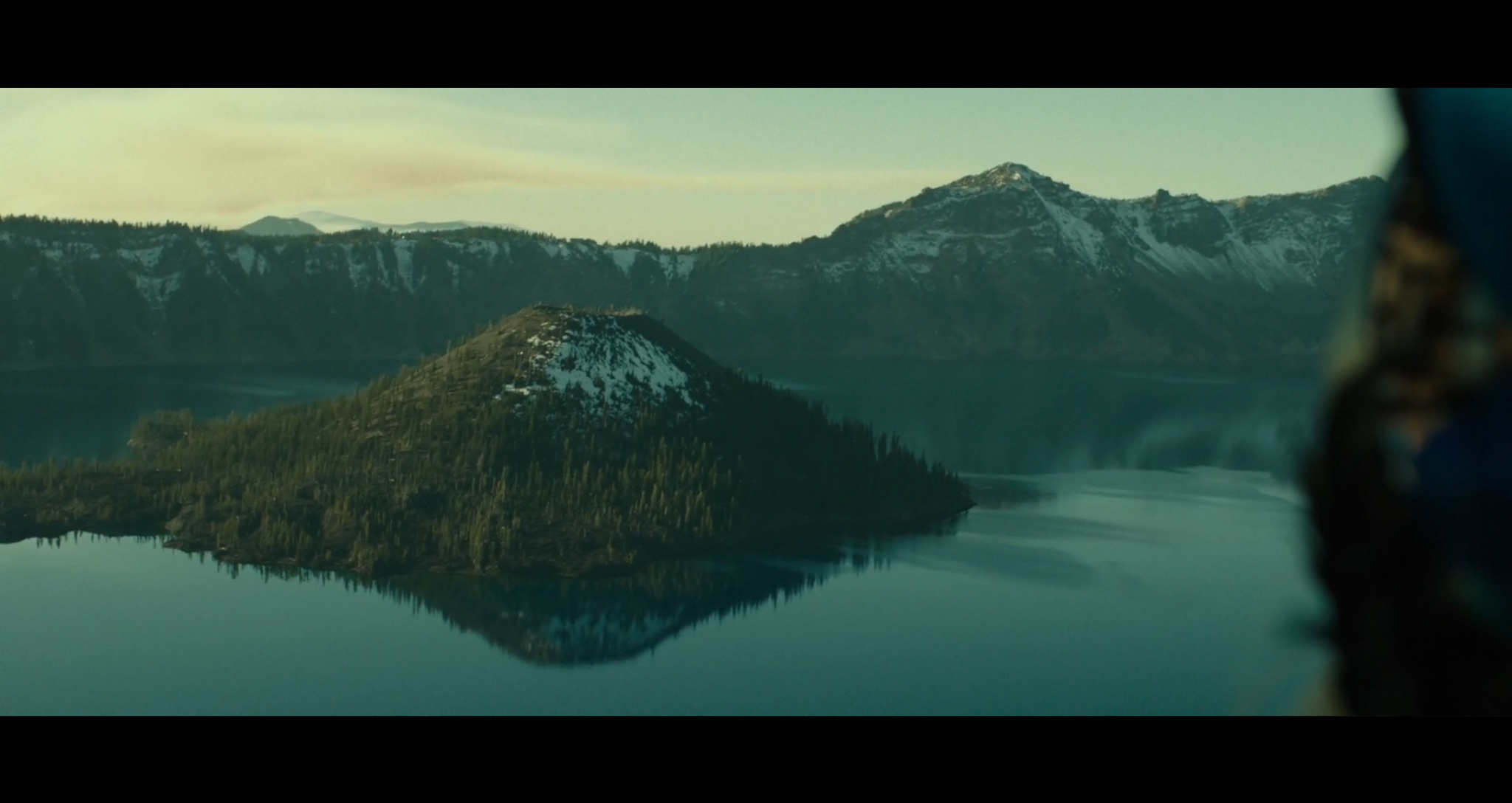 Screenshot of Cheryl's first glimpse of the breathtakingly beautiful Crater Lake.