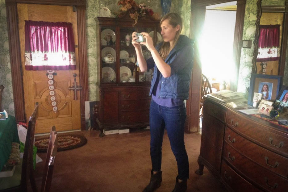 Director  Maura Anderson  location scouting in a house in Guthrie, Oklahoma. Image via   Heartland 's Facebook .