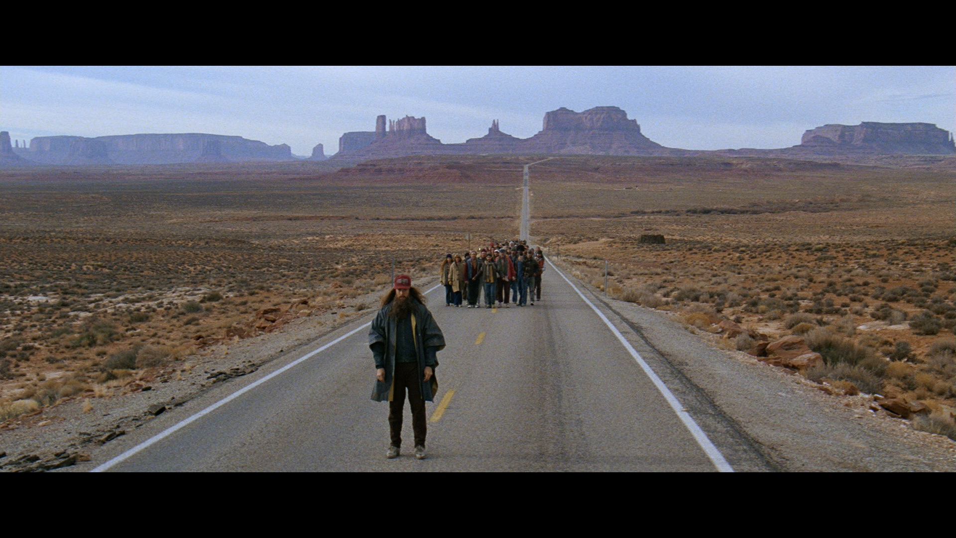 Screenshot of a scene from  Forrest Gump , filmed at Monument Valley.