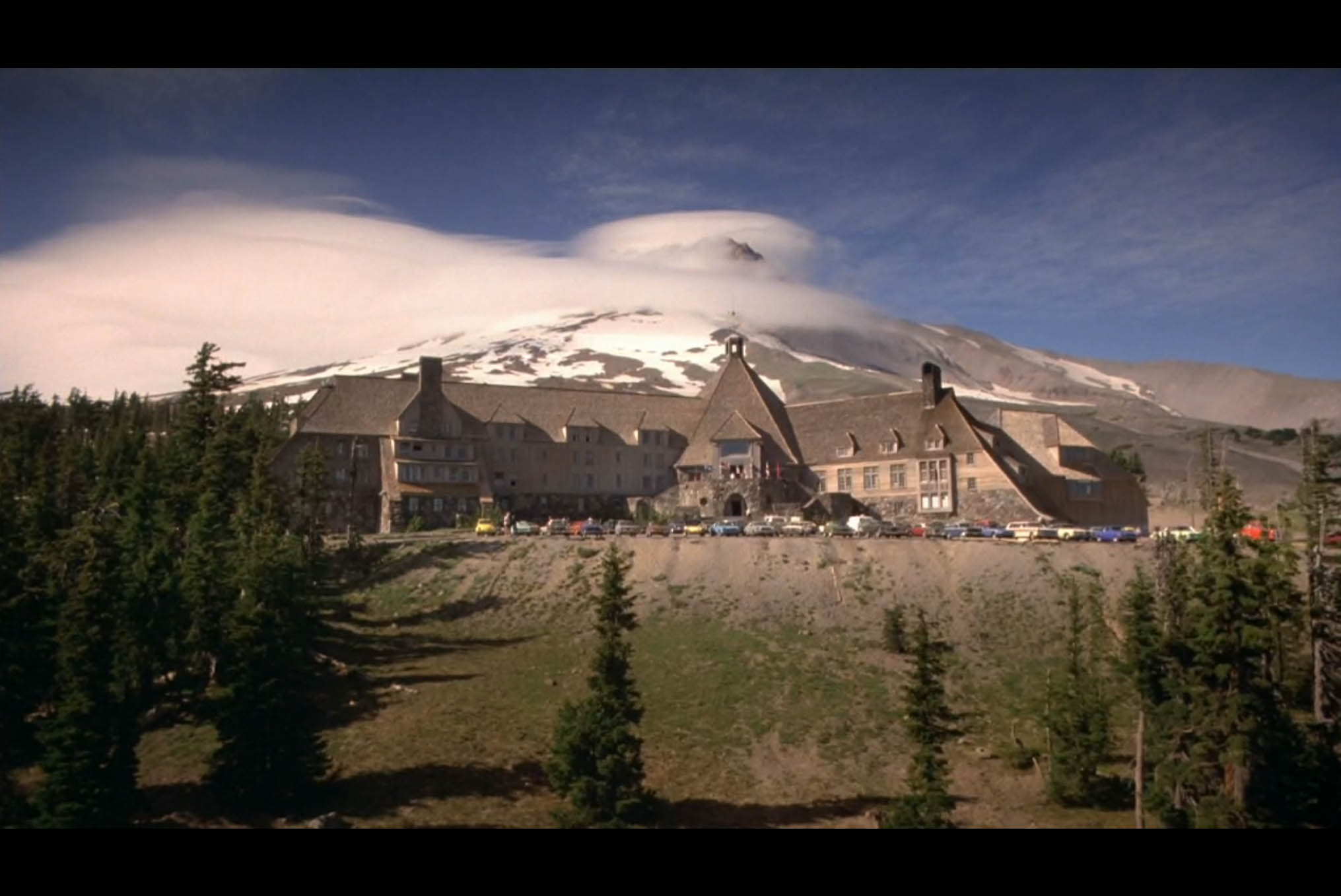 Screenshot from  The Shining  featuringthe Timberline Lodge inOregon which stands in for the exterior of The Overlook Hotel in the movie.