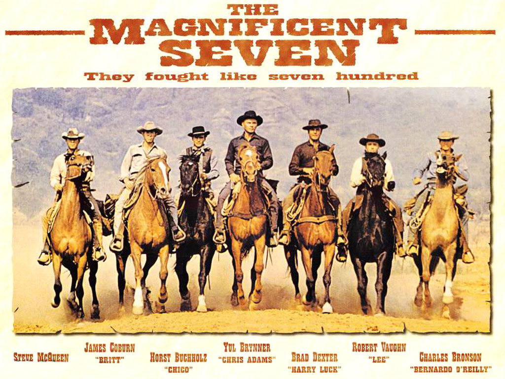 Poster of the 1960 remake of  Seven Samurai  titled  The Magnificent Seven - image via  Google .