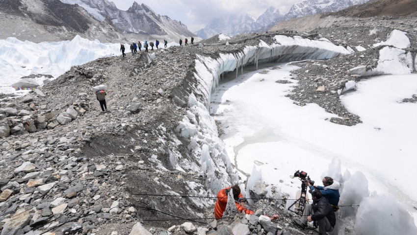 Second Unit Director of Photography Kent Harvey and his team filming on Mount Everest - image via  Google .