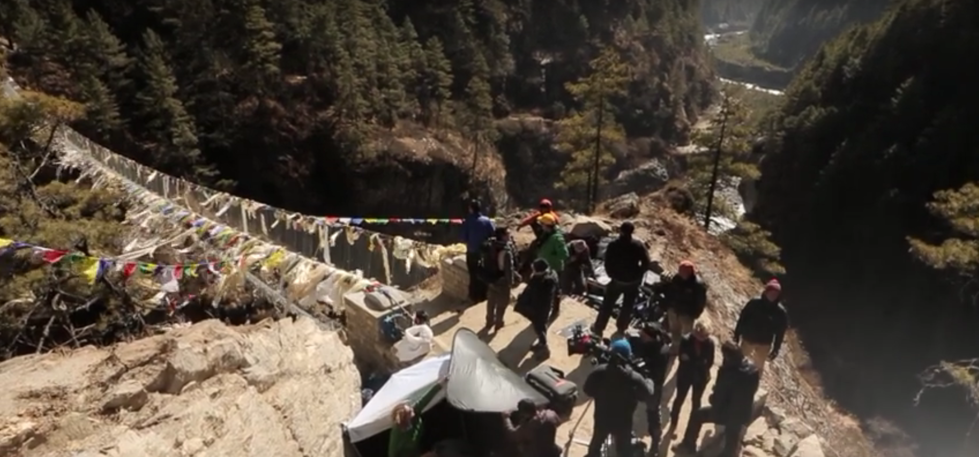 Behind-the-scene during the filming at Everest's suspension bridge - screenshot via  YouTube .