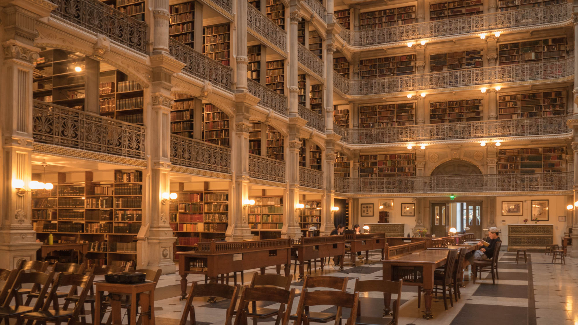 The main room of the George Peabody Library where  Sleepless In Seattle  and  Washington Square  were filmed.