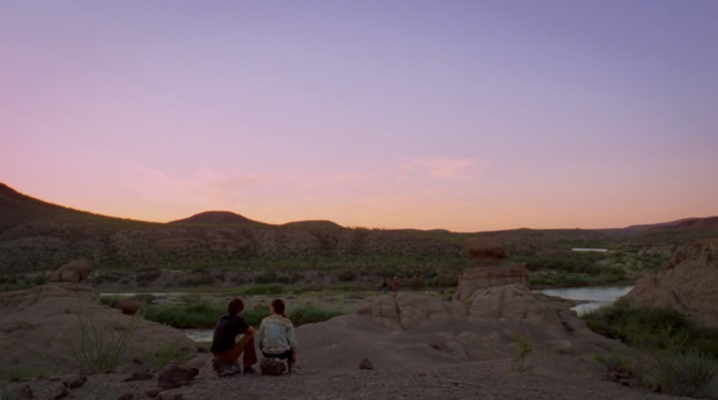Screenshot of Mason (Ellar Coltrane) and his friend in one of the final scenes from Boyhood filmed at Big Bend Ranch State Park.