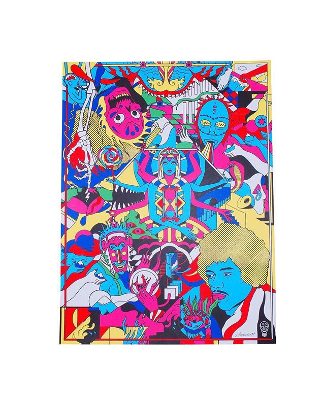 18x24 6-7 colors On White , Lava  Artist : @ilovedust  #jimihendrix#ilovedust#jimihendrixexperience#psychedelic#love#illustration#illuminati#skull#tattoo #illustration #art #poster #seizurepalace #screenprinting #artprint #screenprinted #posters