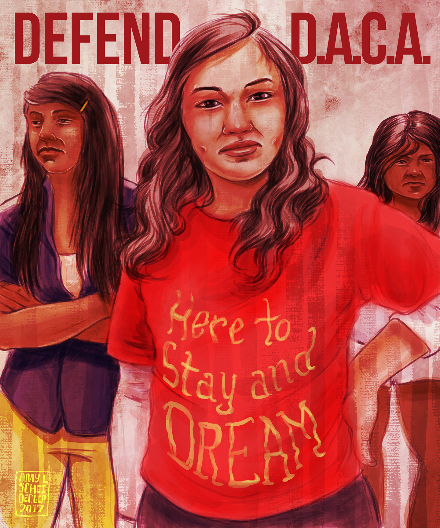 Here to Stay and Dream - Defending DACA  It makes NO sense to expel talented, driven, patriotic young people from the only country they've ever known solely based on the actions of their parents. Many have no idea they're undocumented until they apply for a job, or college, or a driver's license. Where are we supposed to send these kids and young adults? To countries they don't know or remember? Countries their parents fled because of war or violence? Call your senators and urge them to DEFEND DACA  Digital Illustration. Created September, 2017