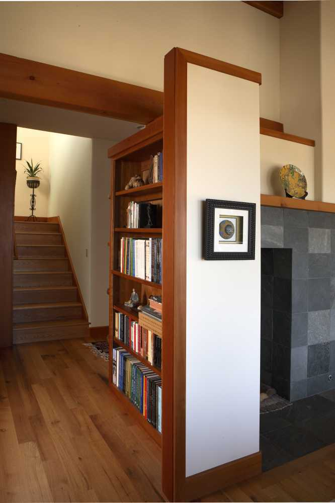 Bellingham Modern House - Bookshelf & Staircase