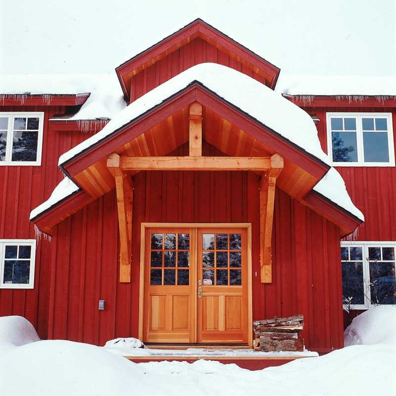 Modern Timber Frame Home - Front Entry