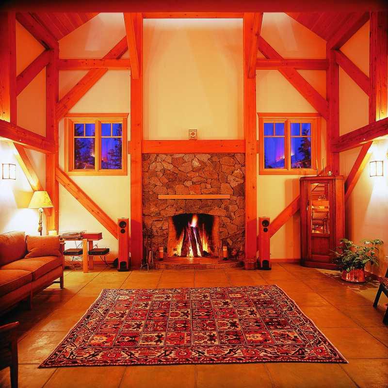 Modern Timber Frame Home - Fireplace