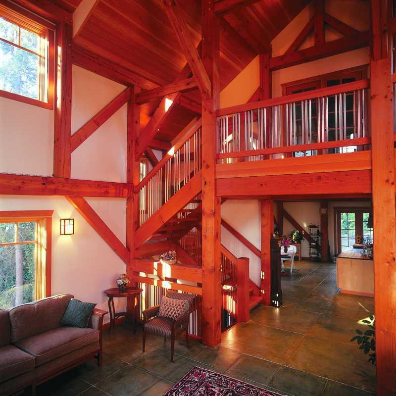 Modern Timber Frame Home - Post Beam Interior