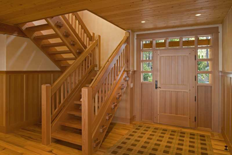 Modern Summer Home on Blakely Island - Timber Stairwell