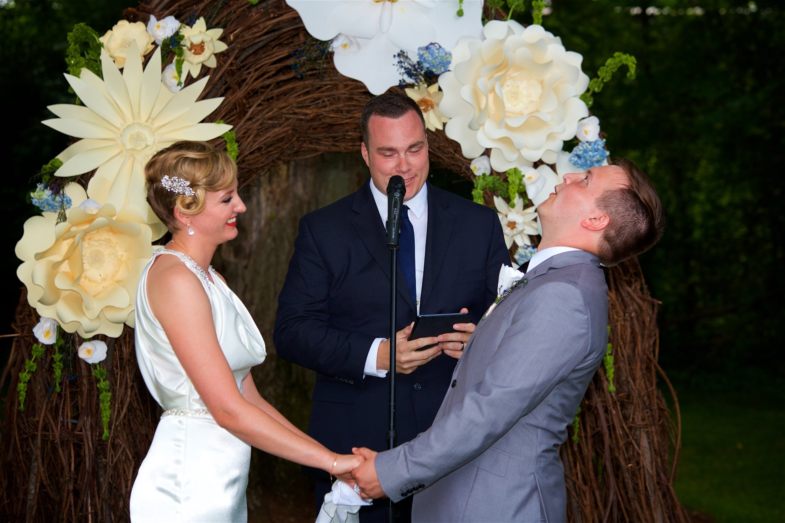 "A groom's reaction after hearing ""I pronounce you..."" (you can almost fill in a caption!)"