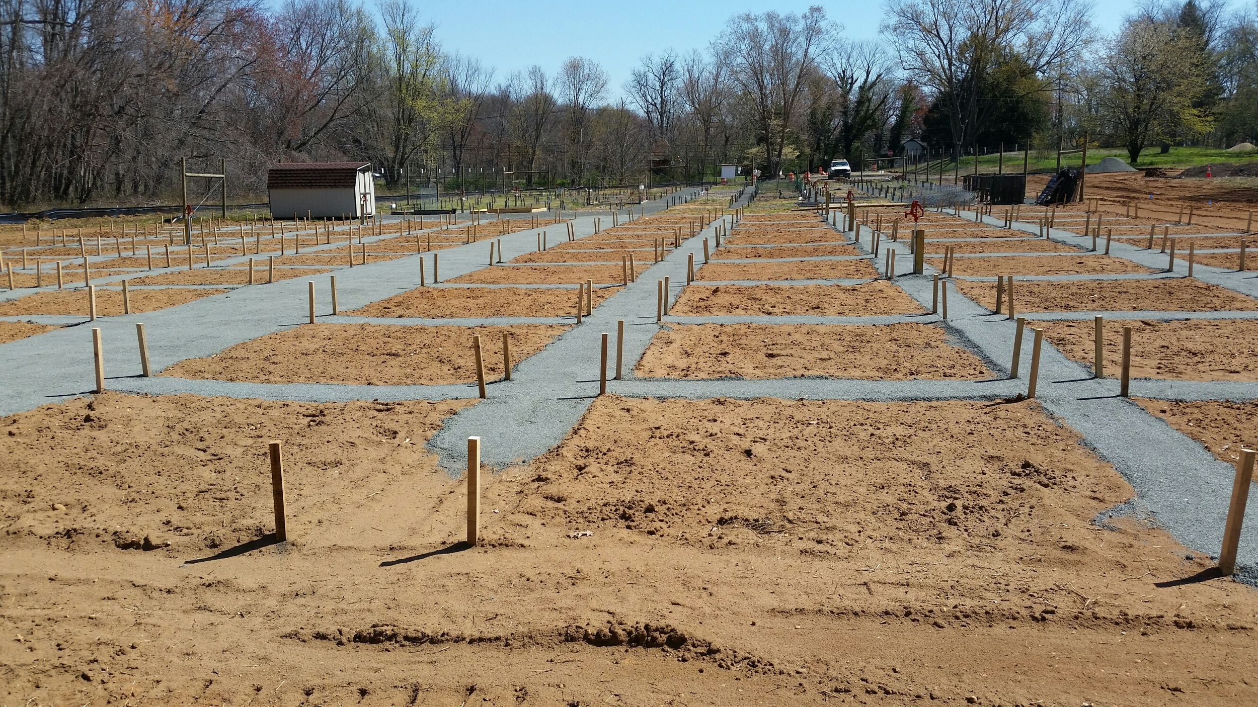 As shown in the attached photo, the new 2016 plots have been staked out by M.T.U.D. staff and the Contractor has installed the walking paths. Watch Township news concerning the Opening Day currently scheduled on May 1st.