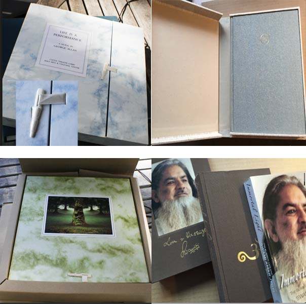 Top left clockwise: Box with ribbon and bone toggle closure, clamshell box with hard cover book  inside, Slipcase on bottom, hard cover and then soft cover of mixed run, Mailing carton with box with toggle closure and tipped on image inside. Hard cover book inside the box.