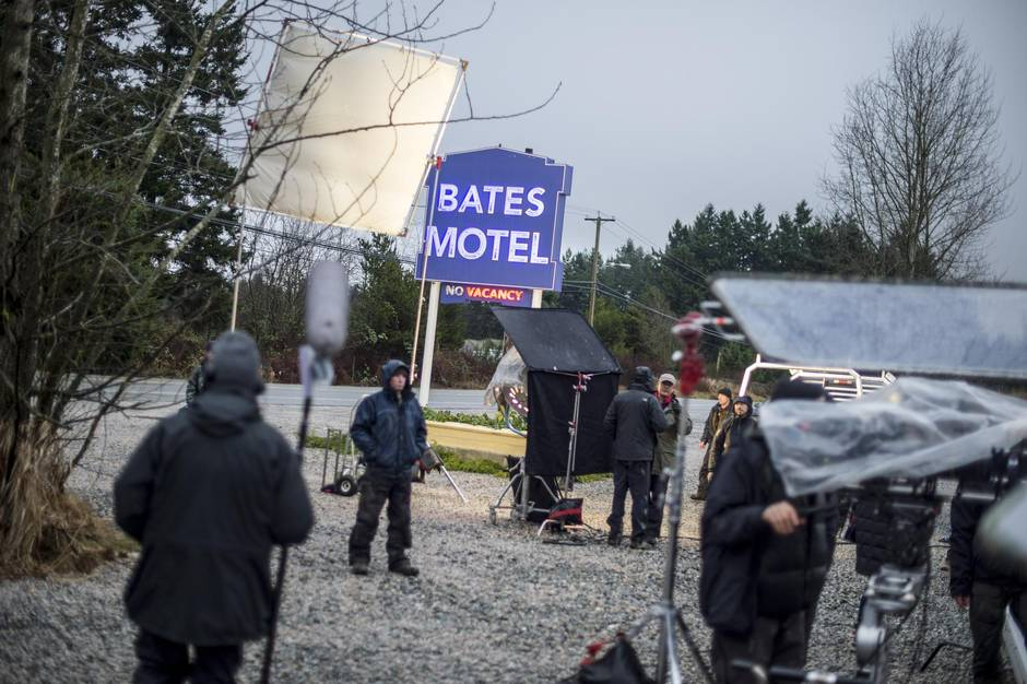Filming underway for A&E's  Bates Motel , which was shot in Aldergrove and the Fraser Valley. | Image: The Globe and Mail.