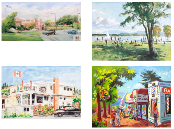 Artwork from previous Paint the Town events clockwise from the top left:Iryna Kharina, 1st Place 2015;Dale Byre, 1st Place 2016;Veronica Davies, 3rd Place 2016;Elizabeth Rollick, 1st Place 2017. | Image: Semiahmoo Arts.