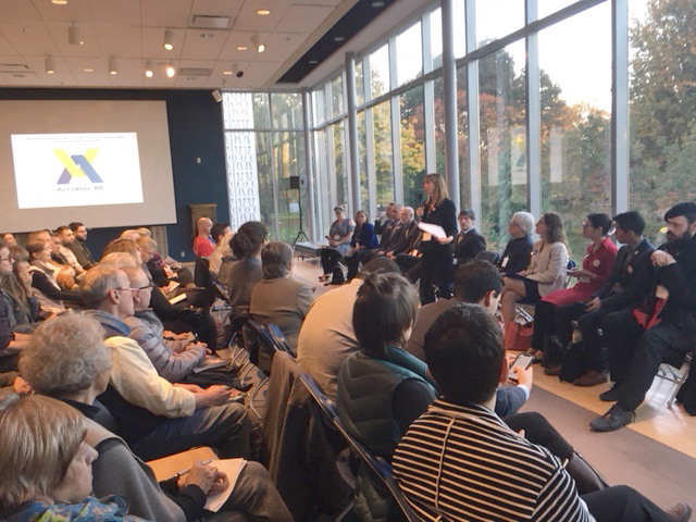 Independent mayoral candidate Shauna Sylvester speaks to a full house at the Museum of Vancouver. | Image: Beverly Edgecombe.