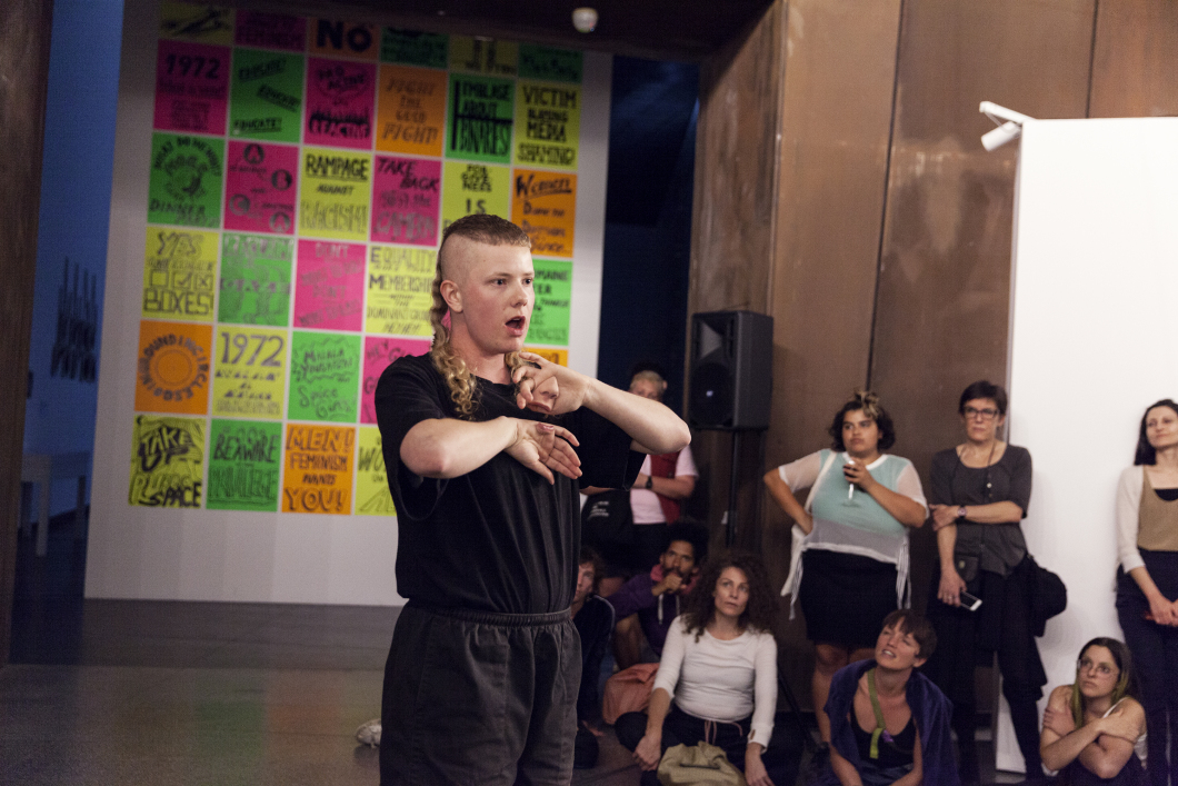 Archie Barry, co-author of the resource, performs their 2018 piece,  Phrenic .   Image: Jacqui Shelton.
