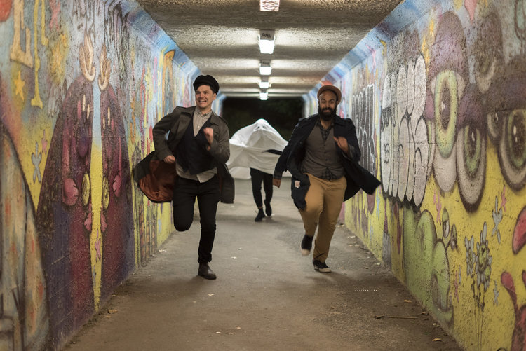 Abdul Aziz and Shawn O'Hara take audiences on  Fake Ghost Tours , starting May 30 as part of rEvolver. | Image: Upintheair Theatre.