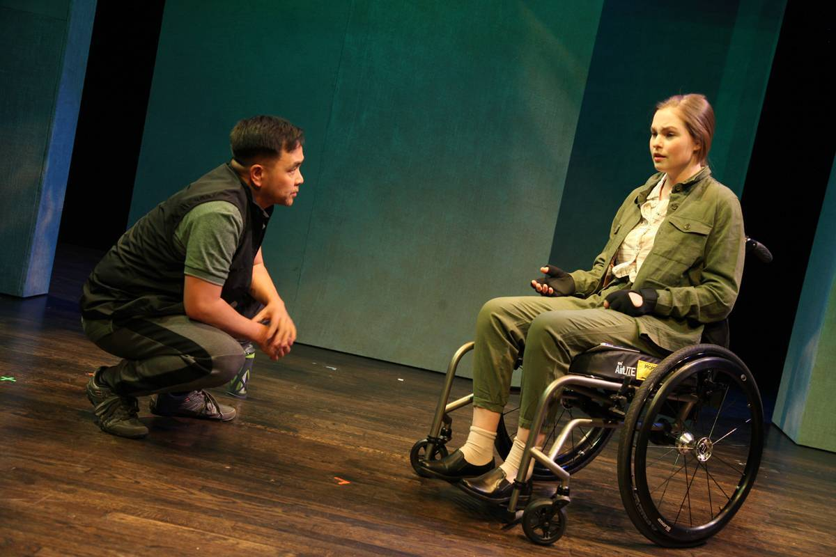 Actors Raugi Yu and Danielle Klaudt in Realwheels Theatre's,  Act of Faith .